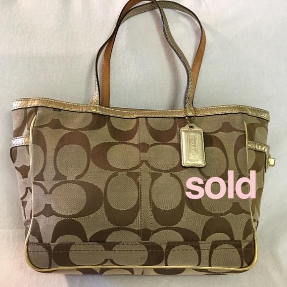 Coach Handbags - SOLD! cOAO Khaki/Gold Python Trim Signature Tote